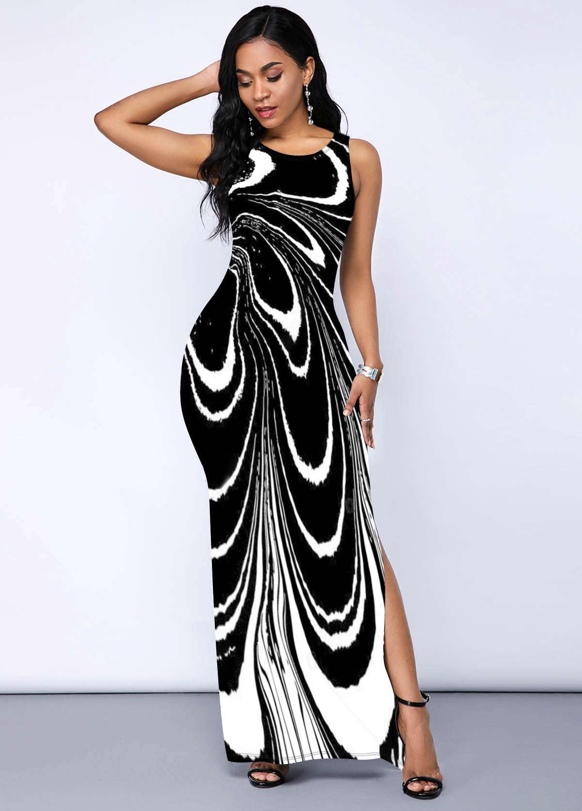 Printed Round Neck Side Slit Dress