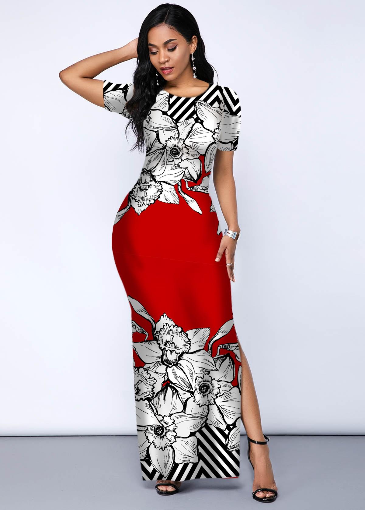 Contrast Printed Side Slit Maxi Dress