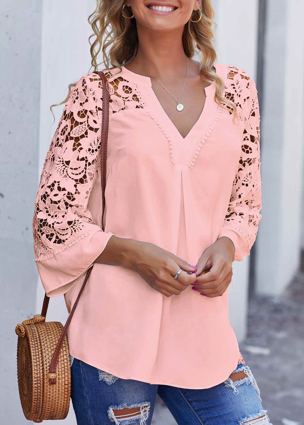 Lace Stitching Split Neck Pink Blouse
