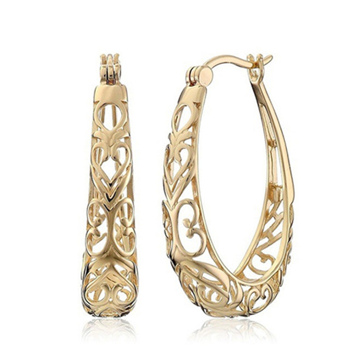 Hollow Out Design Gold Metal Detail Earring Set