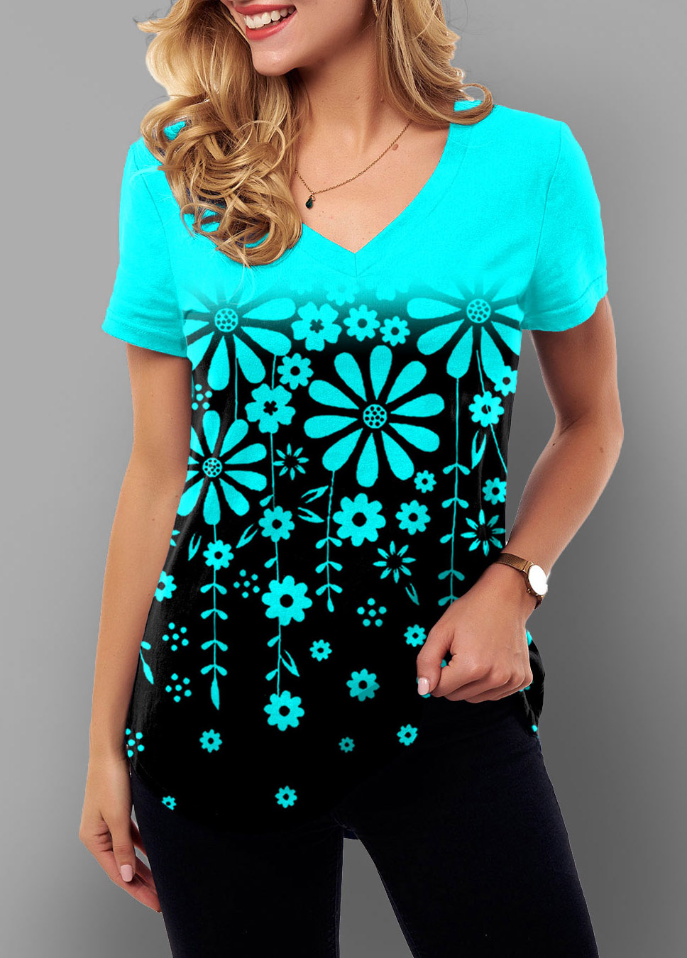 Short Sleeve Ombre Floral Print T Shirt