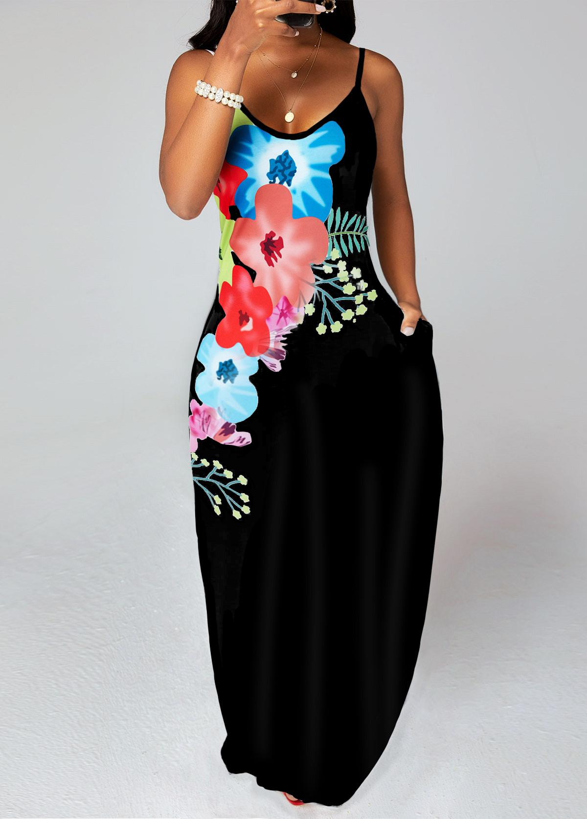 Double Pockets Floral Print Maxi Dress