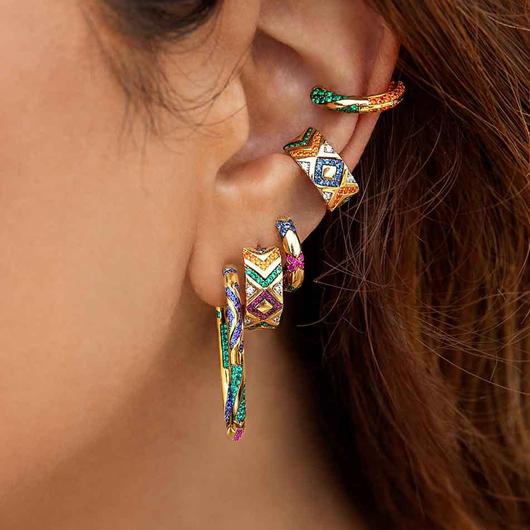 1 Pair Metal Detail Rhinestone Earrings