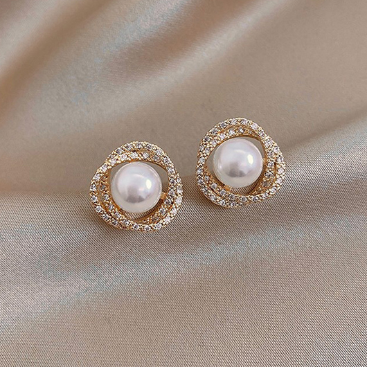 Pearl Detail Rhinestone Design Metal Earring Set