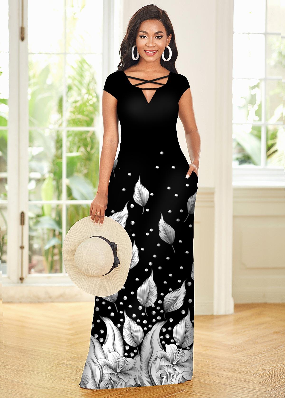 Leaf Print Ombre Cross Strap Short Sleeve Dress