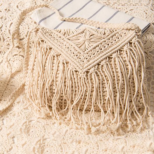 Tassel Detail Knitted Design White Crossbody Messenger Bag