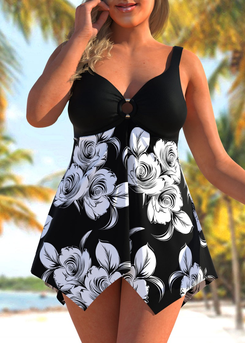Plus Size Floral Print Asymmetric Hem Swimdress and Shorts