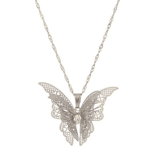 Butterfly Design Metal Detail Silver Necklace