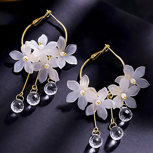 Floral Design Metal Detail Crystal Earring Set