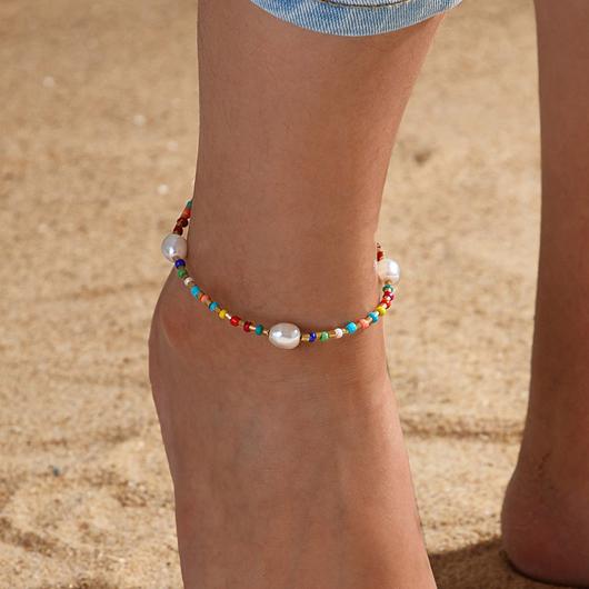 Pearl Design Multi Color Beads Detail Anklet