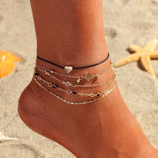 Heart Design Gold Metal Detail Anklets