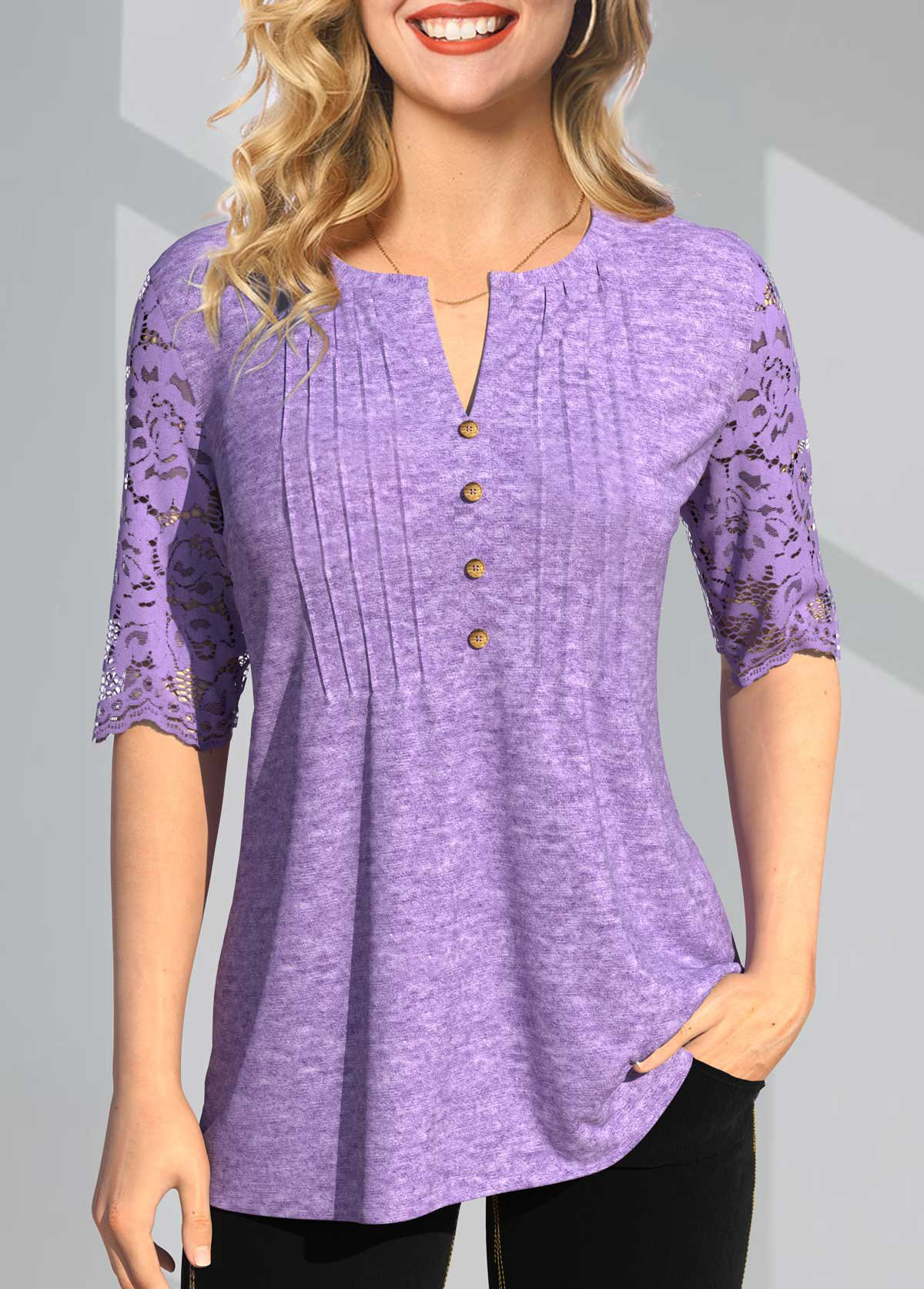 Split Neck Lace Stitching Crinkle Chest T Shirt
