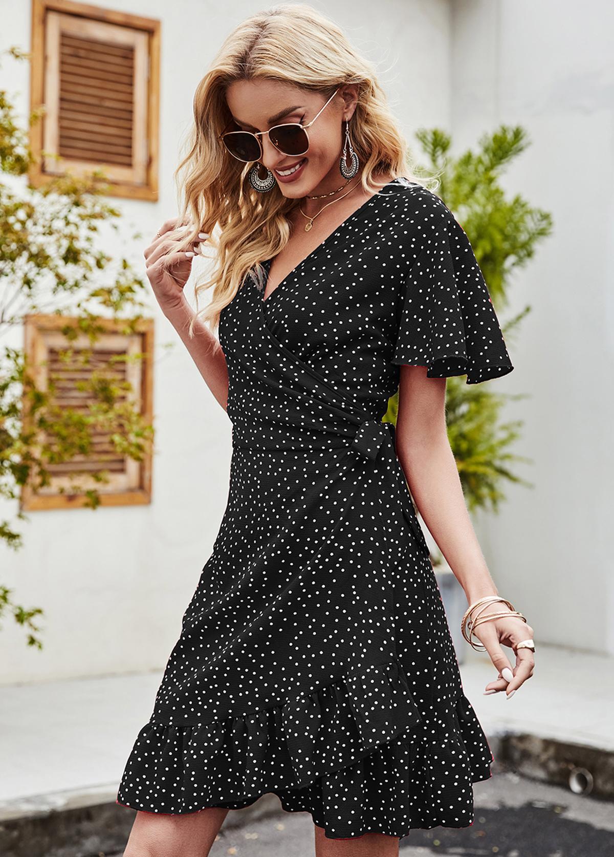 Short Sleeve V Neck Polka Dot Dress