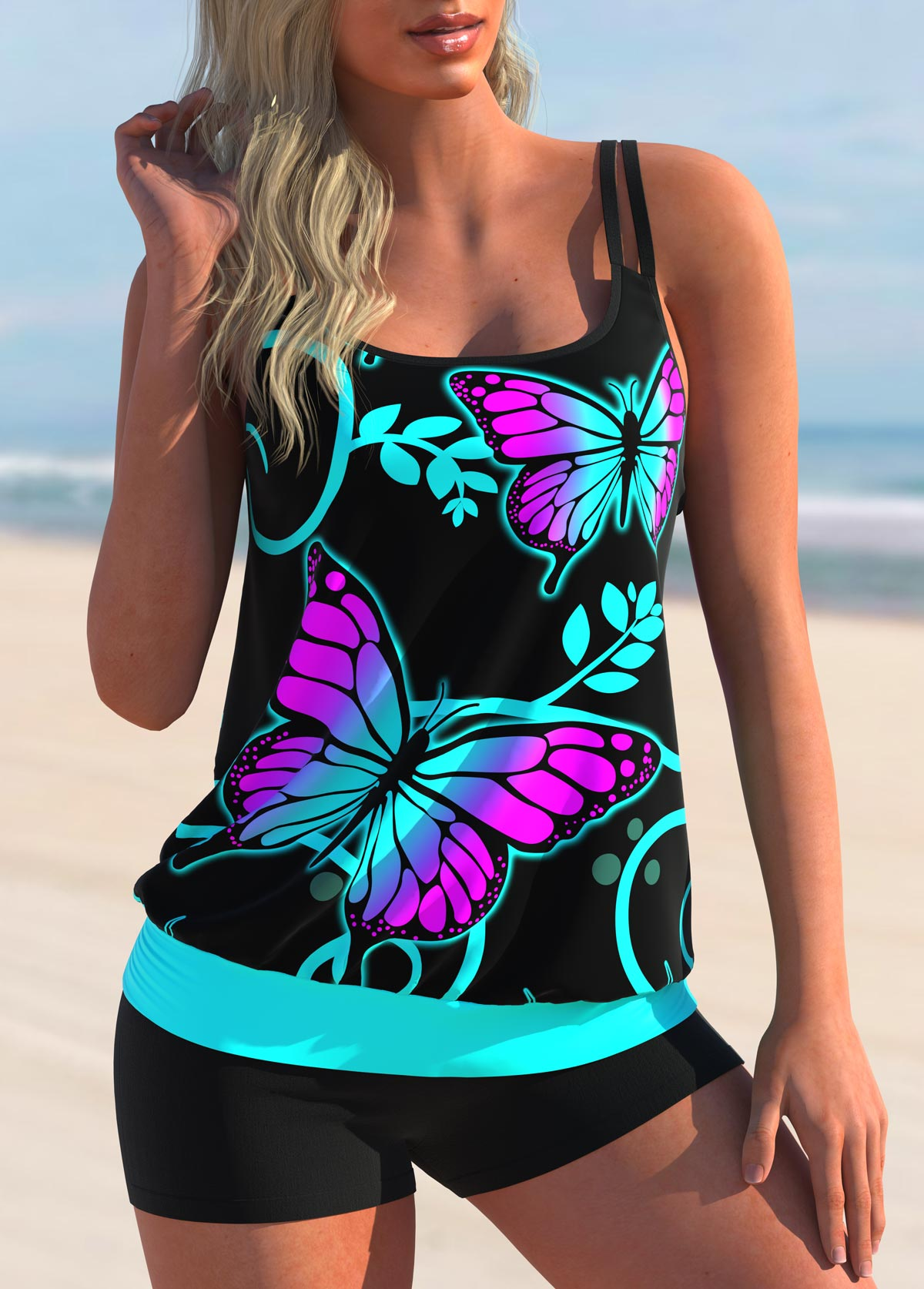 Butterfly Print Double Straps Tankini Set
