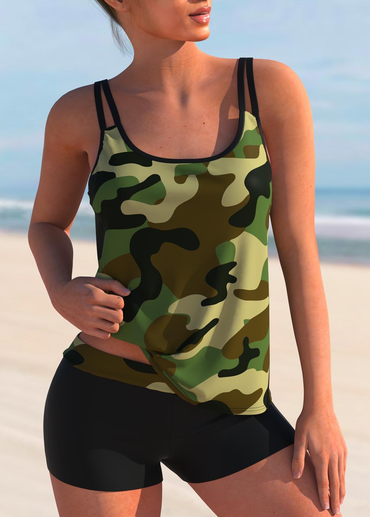 Camouflage Print Mid Waist Tankini Set