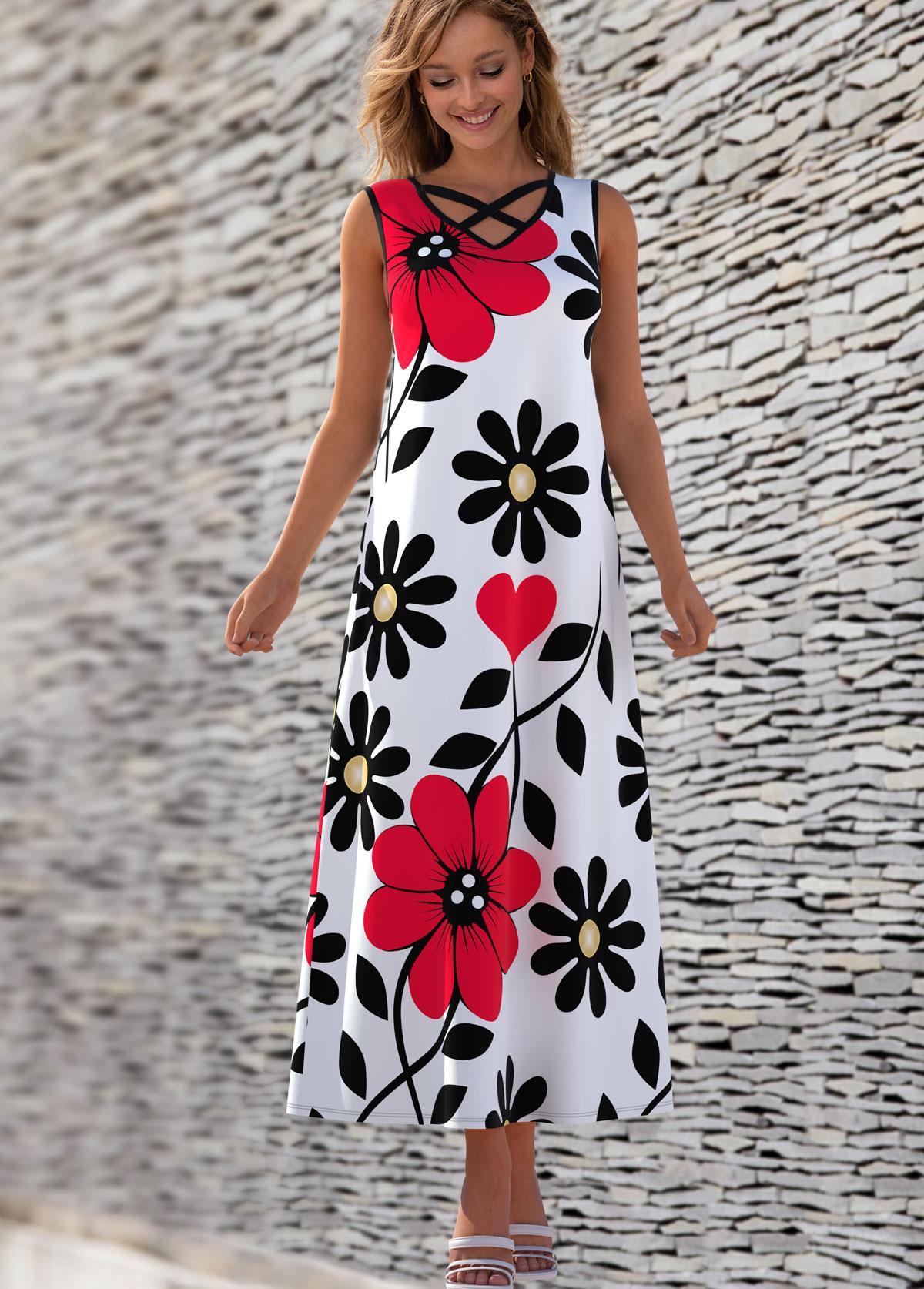 Floral Print Cross Strap Sleeveless Dress