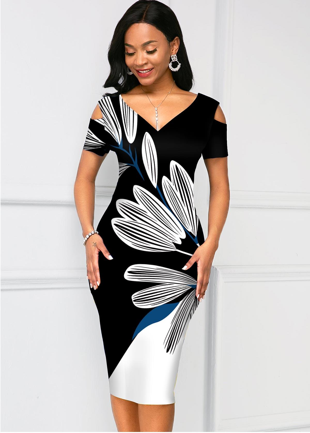 V Neck Contrast Floral Print Bodycon Dress