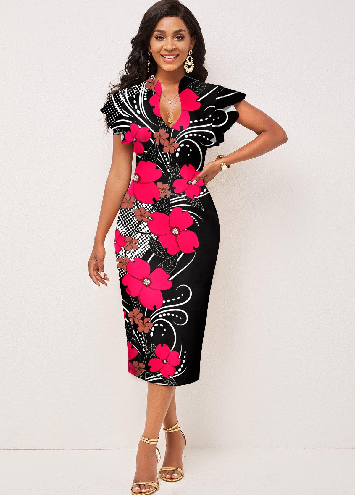 Contrast Floral Print Short Sleeve Dress