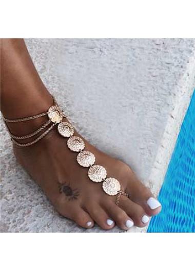 Gold Metal Detail Layered Design Anklet