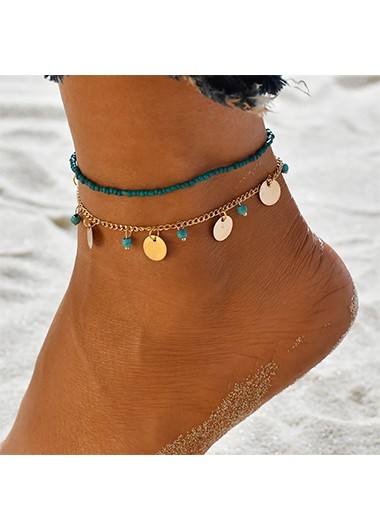 Beads Design Turquoise Metal Detail Anklets