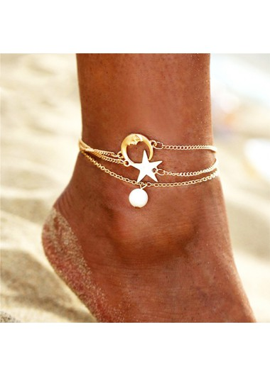 Moon Sar and Pearl Detail Metal Anklets