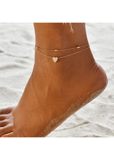 Layered Metal Detail Gold Heart Design Anklet