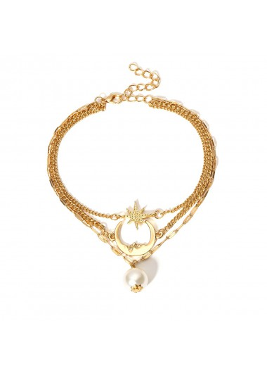 Pearl Design Layered Detail Gold Anklet