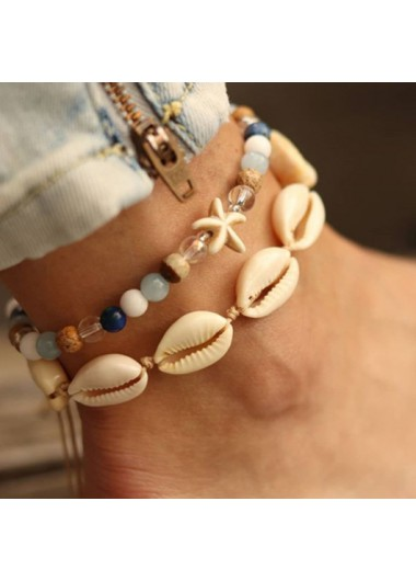 Conch and Shell Design Metal Detail Anklets