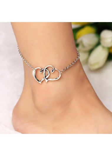 Silver Metal Detail Double Heart Design Anklet