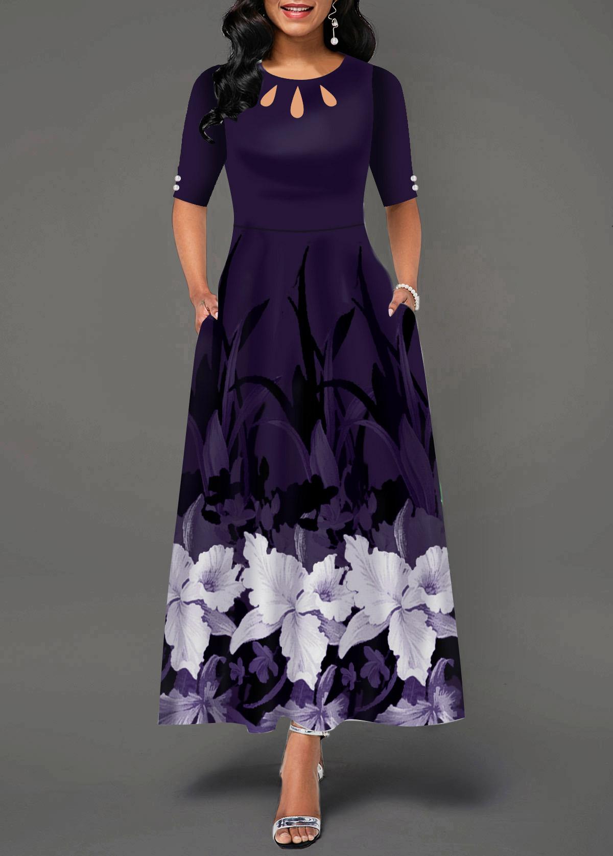 Floral Print Cutout Neck Side Pocket Maxi Dress