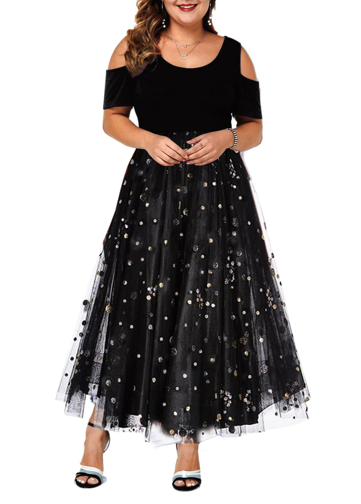 Plus Size Sequin Cold Shoulder Mesh Dress