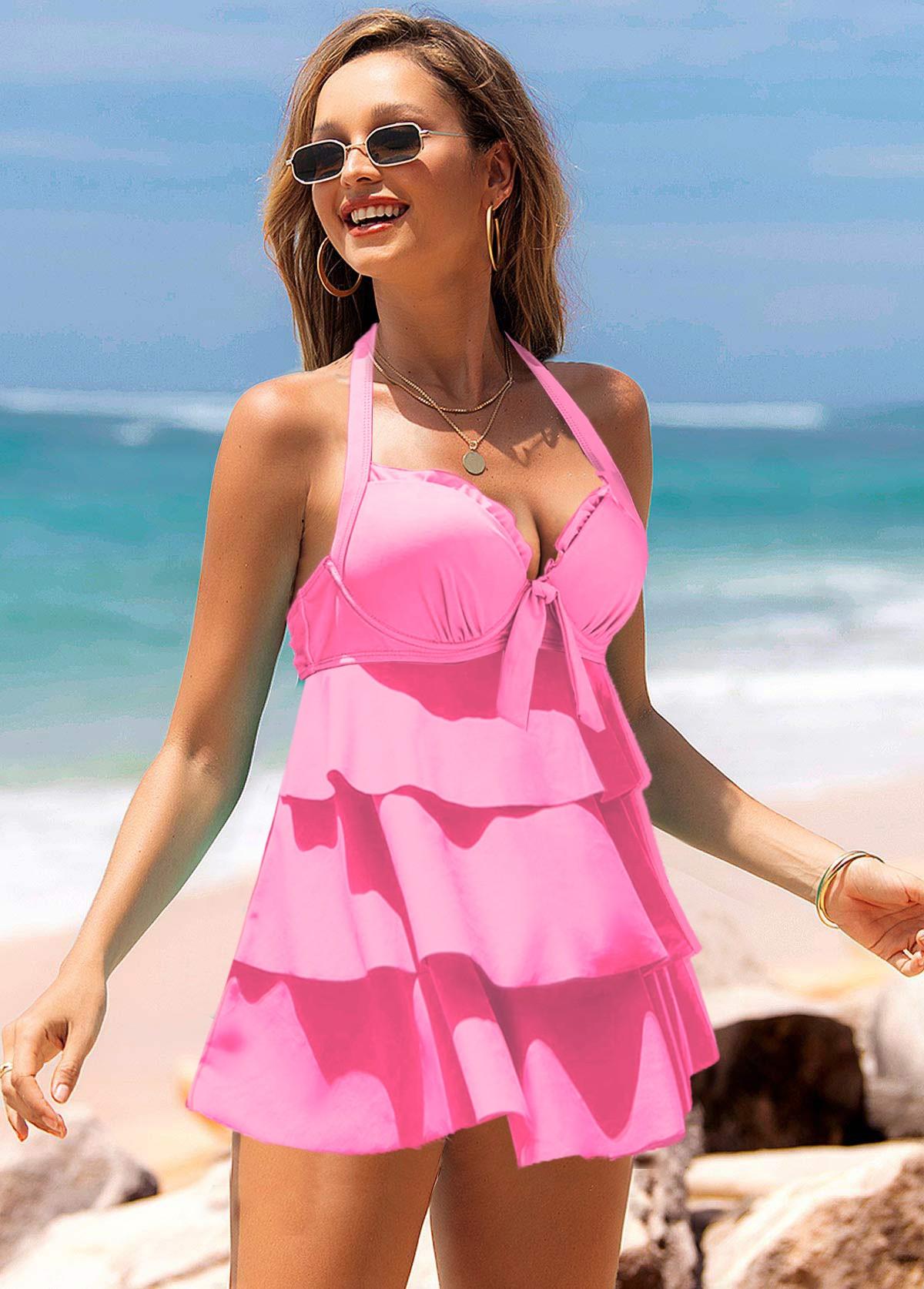Hot Pink Layered Ruffle Hem Halter Swimdress and Panty