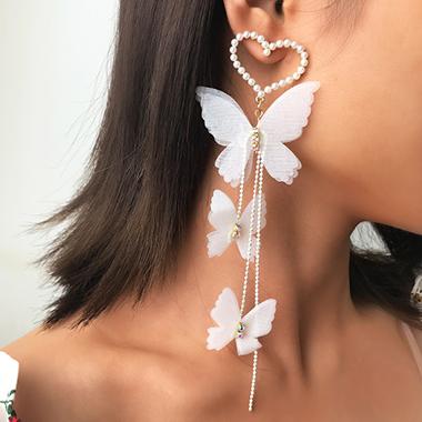 Pearl Detail Butterfly Design Metal Earring Set