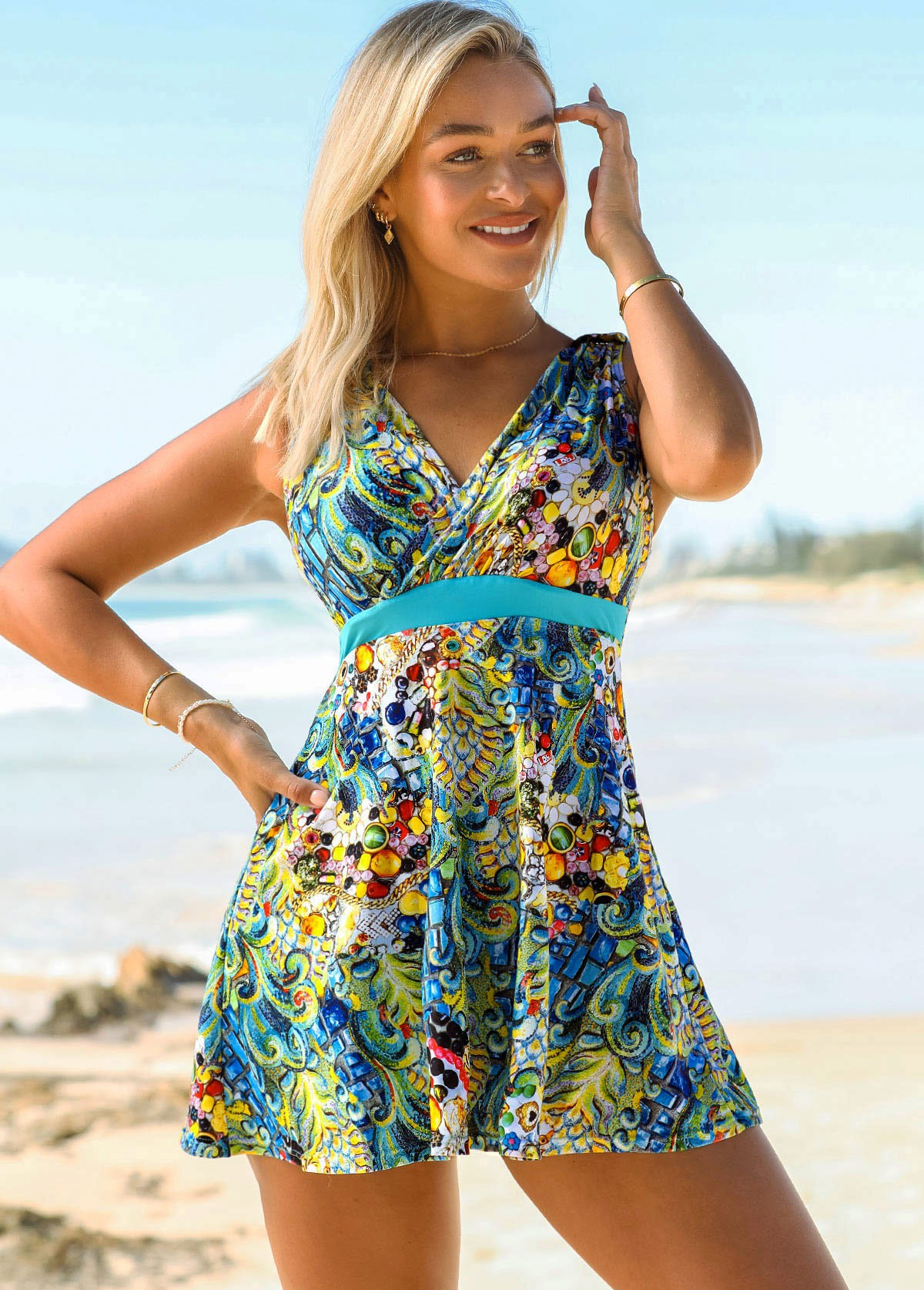 Tribal Print Double Straps Halter Swimdress and Shorts