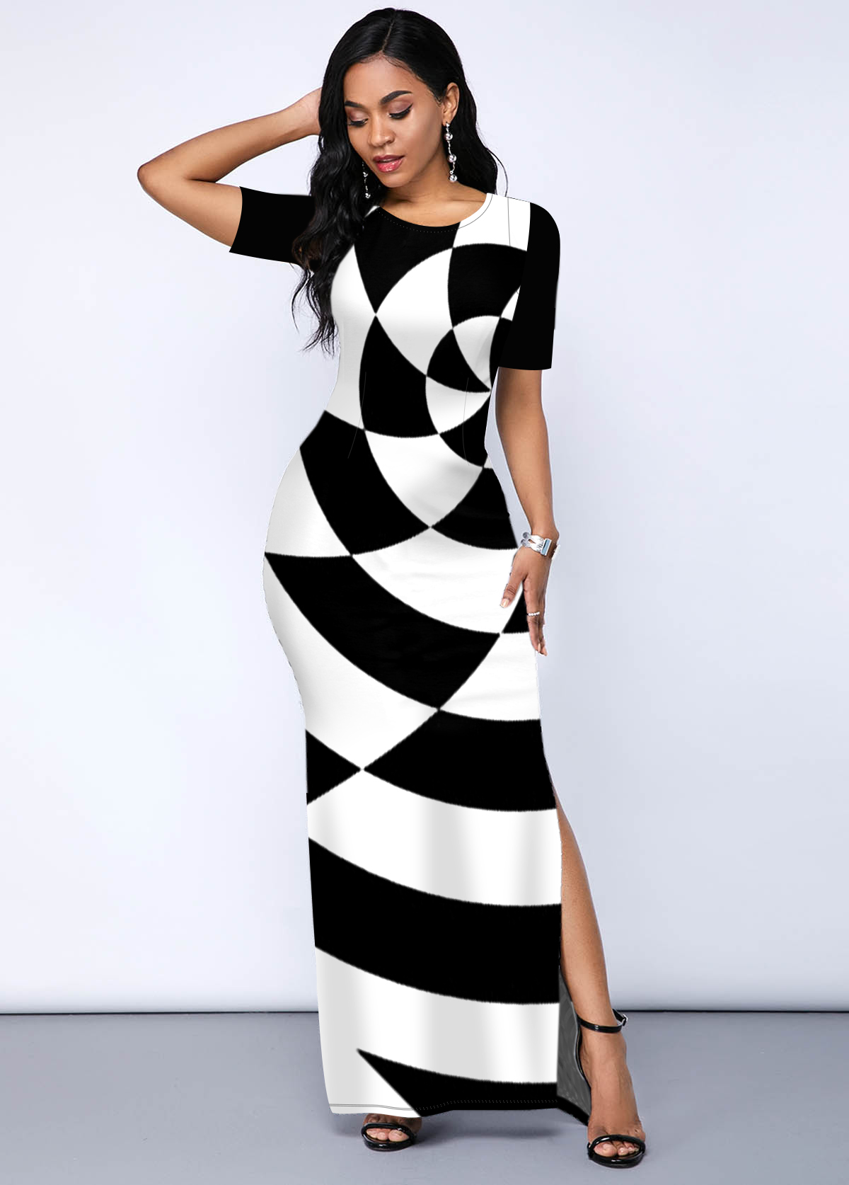 Geometric Print Side Slit Round Neck Dress