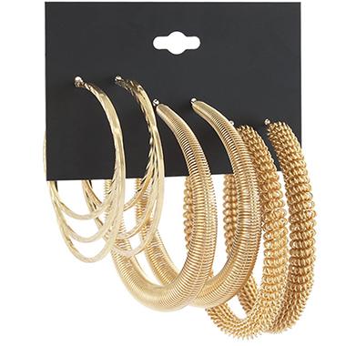 Gold Circular Design Metal Detail Earring Set