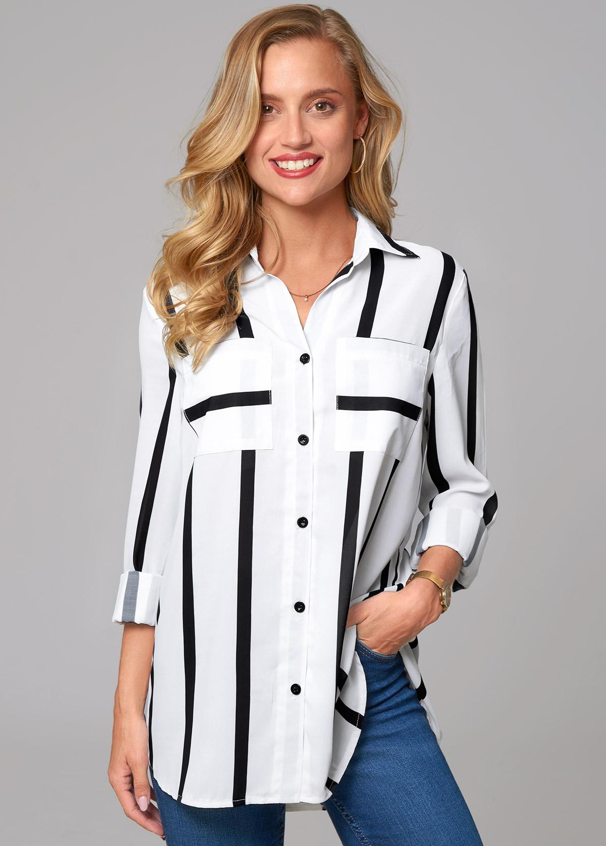 Striped Double Pocket Turndown Collar Blouse