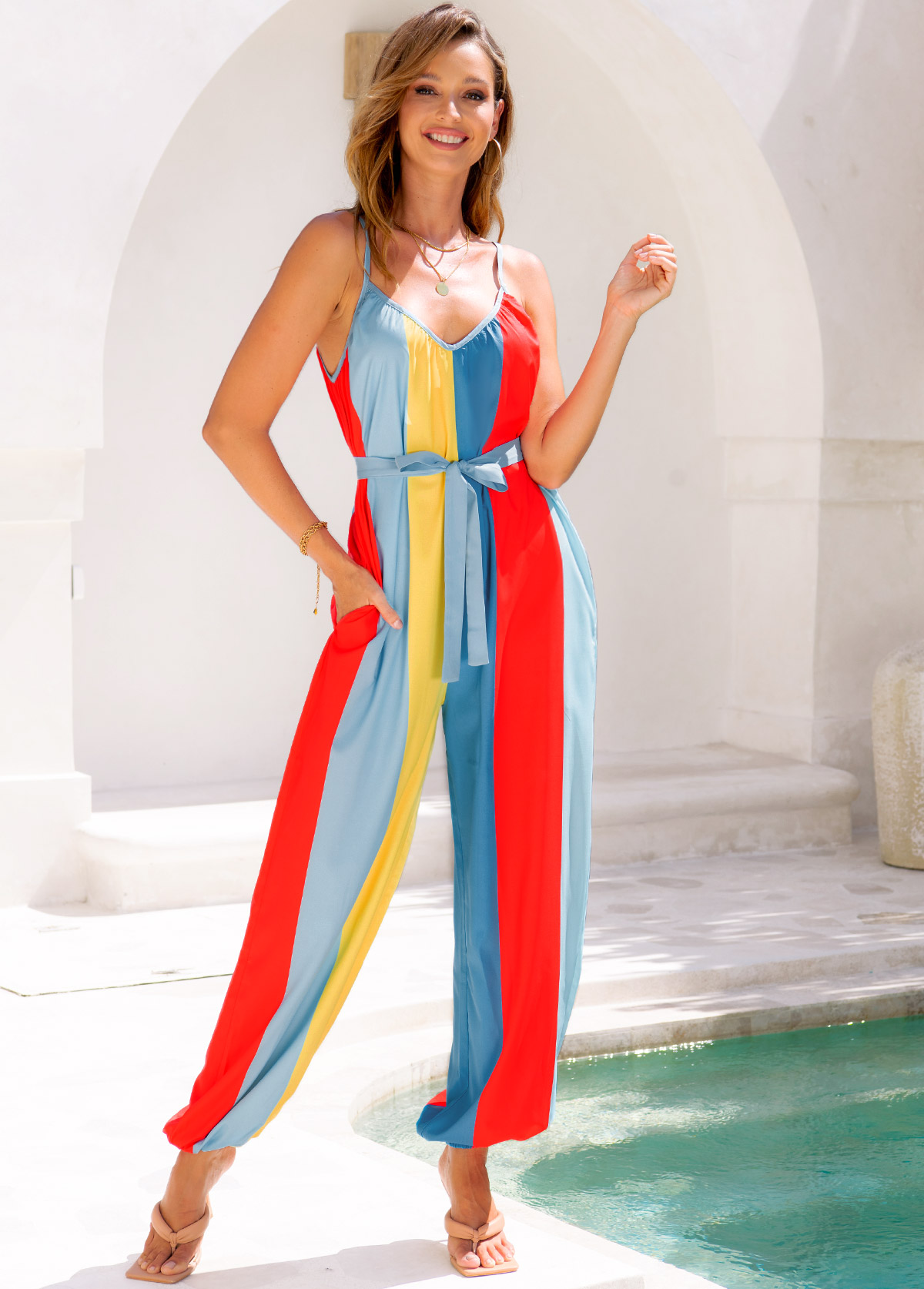 Double Pocket Belted Spaghetti Strap Rainbow Stripe Jumpsuit