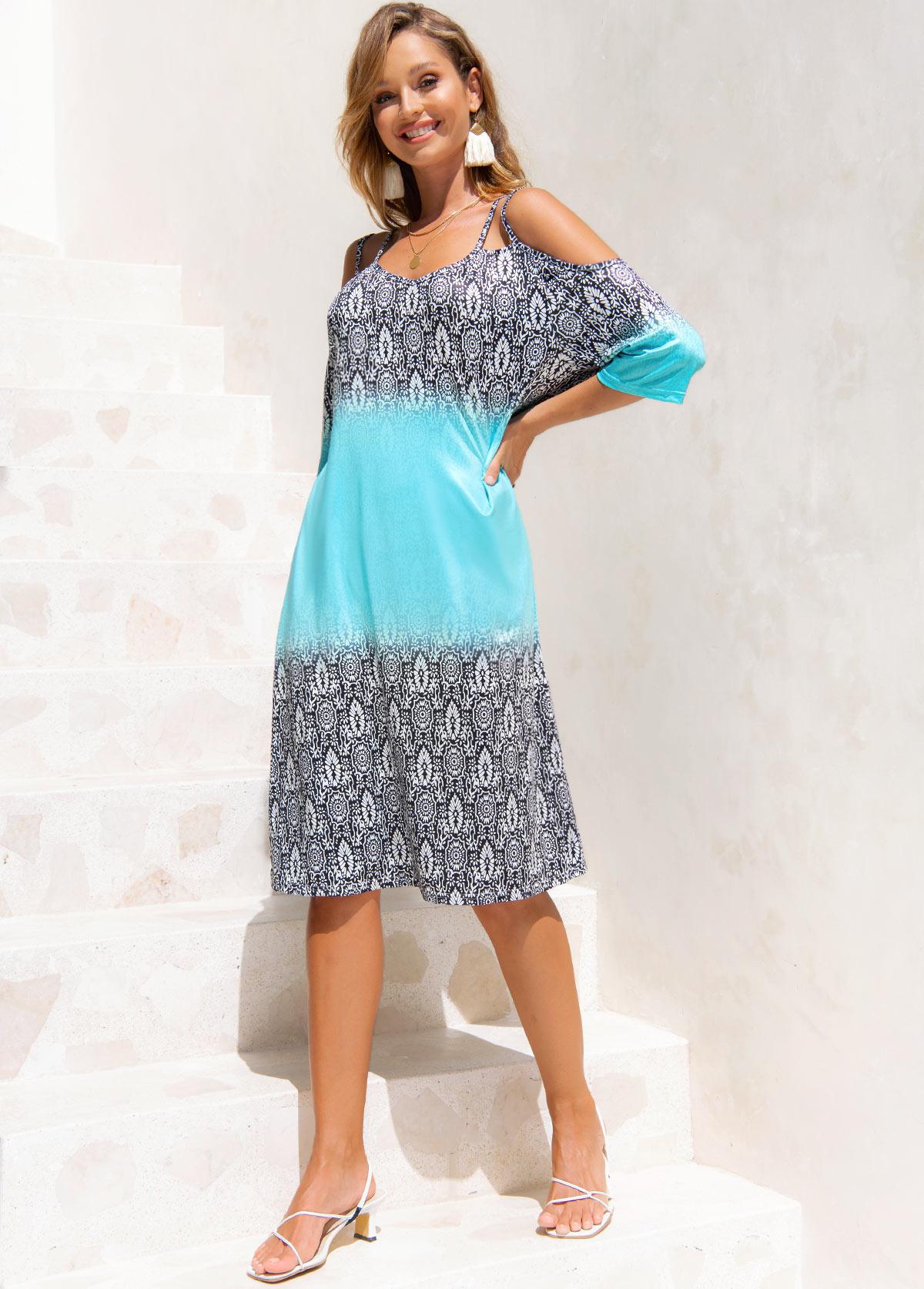 Printed Cold Shoulder 3/4 Sleeve Dress