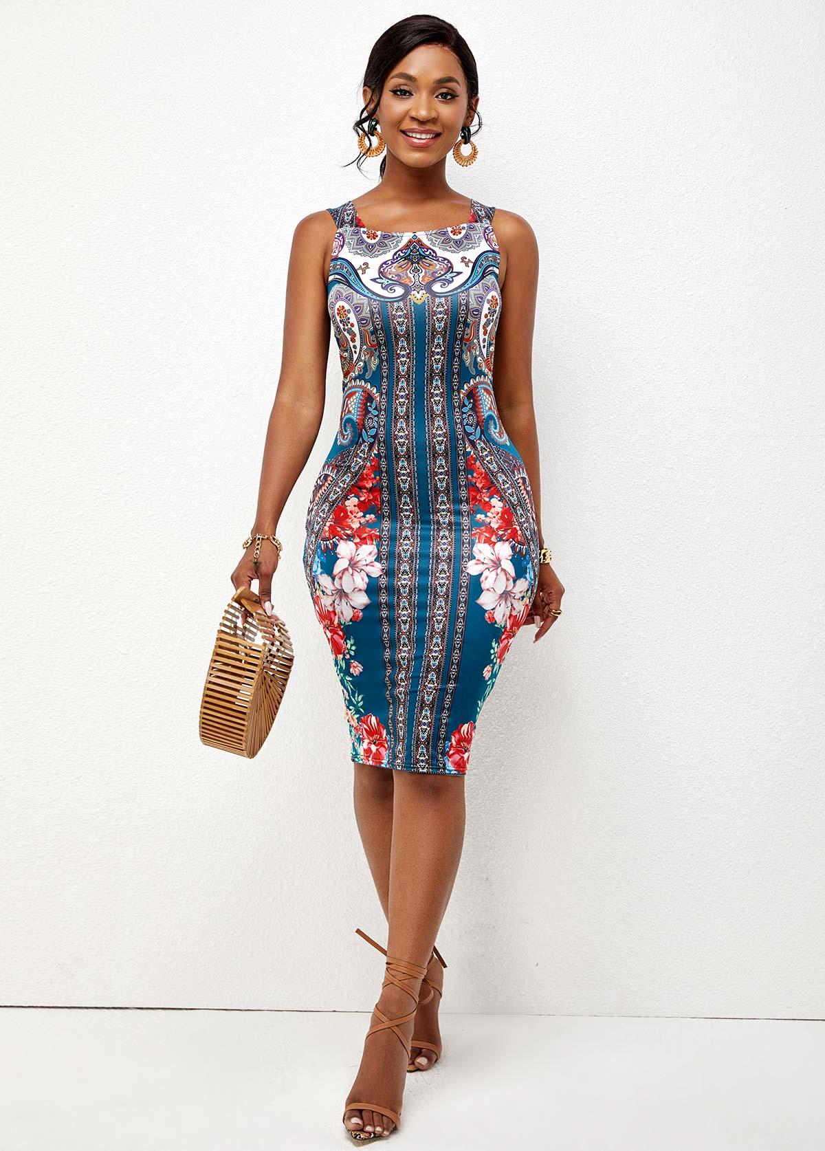Tribal Print Wide Strap Bodycon Dress