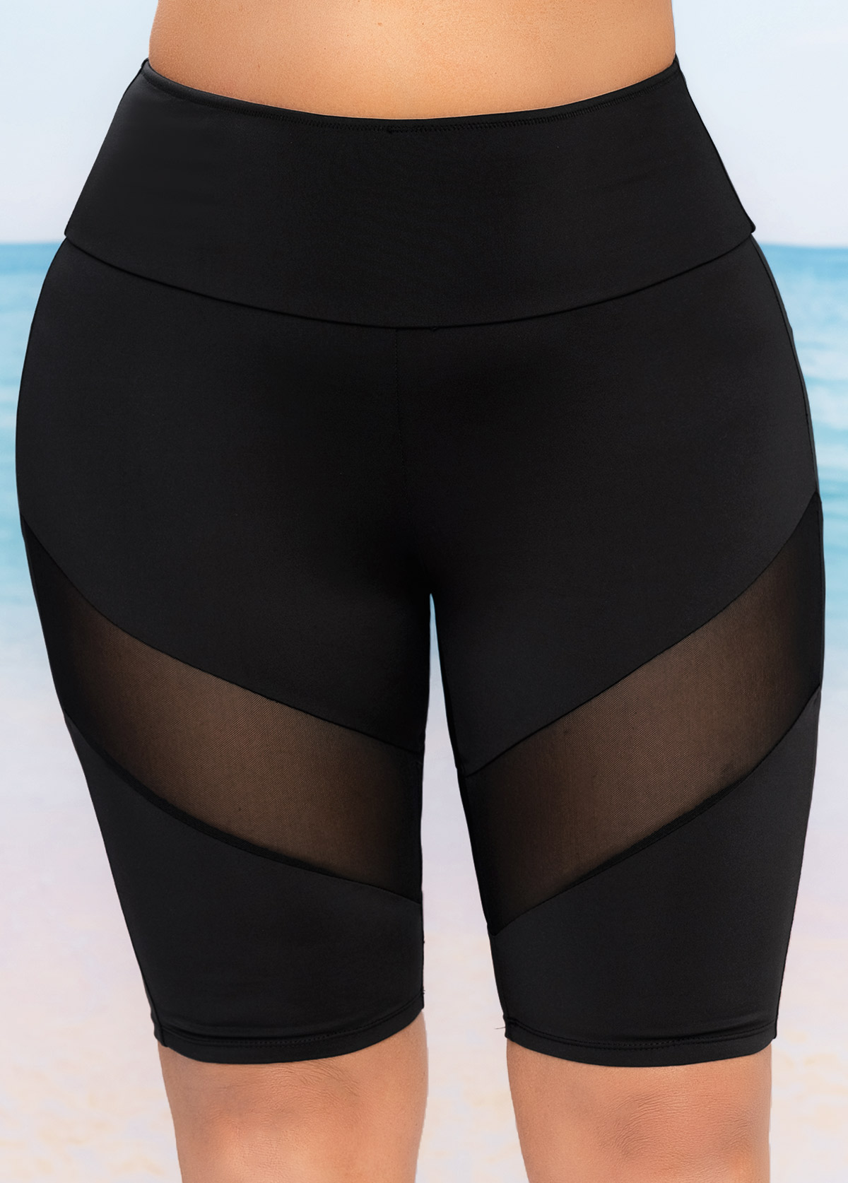 Mesh Stitching High Waist Plus Size Swim Shorts