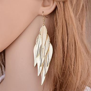 Leaf Design Baroque Design Gold Earring Set