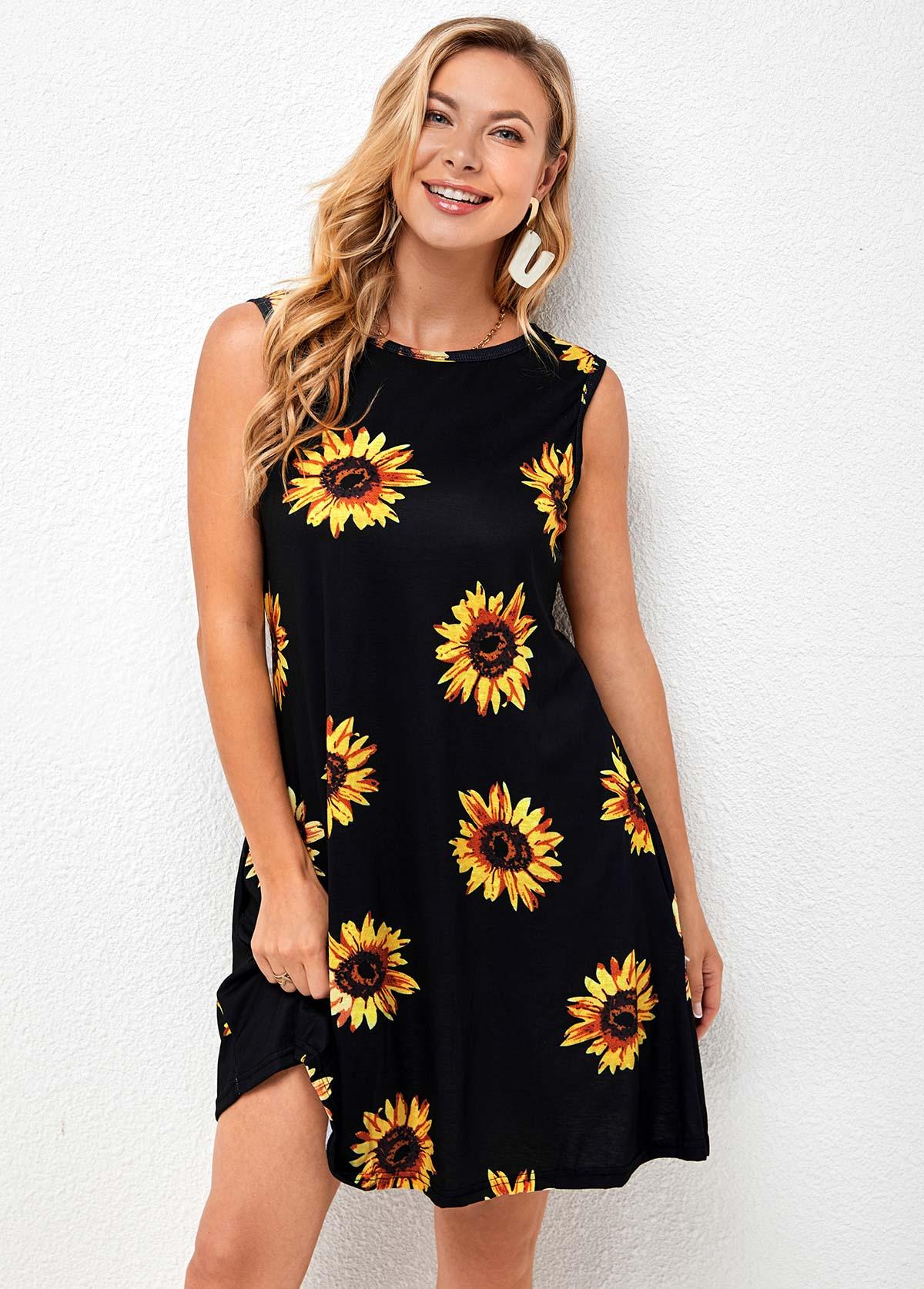 Sunflower Print Sleeveless Round Neck Dress