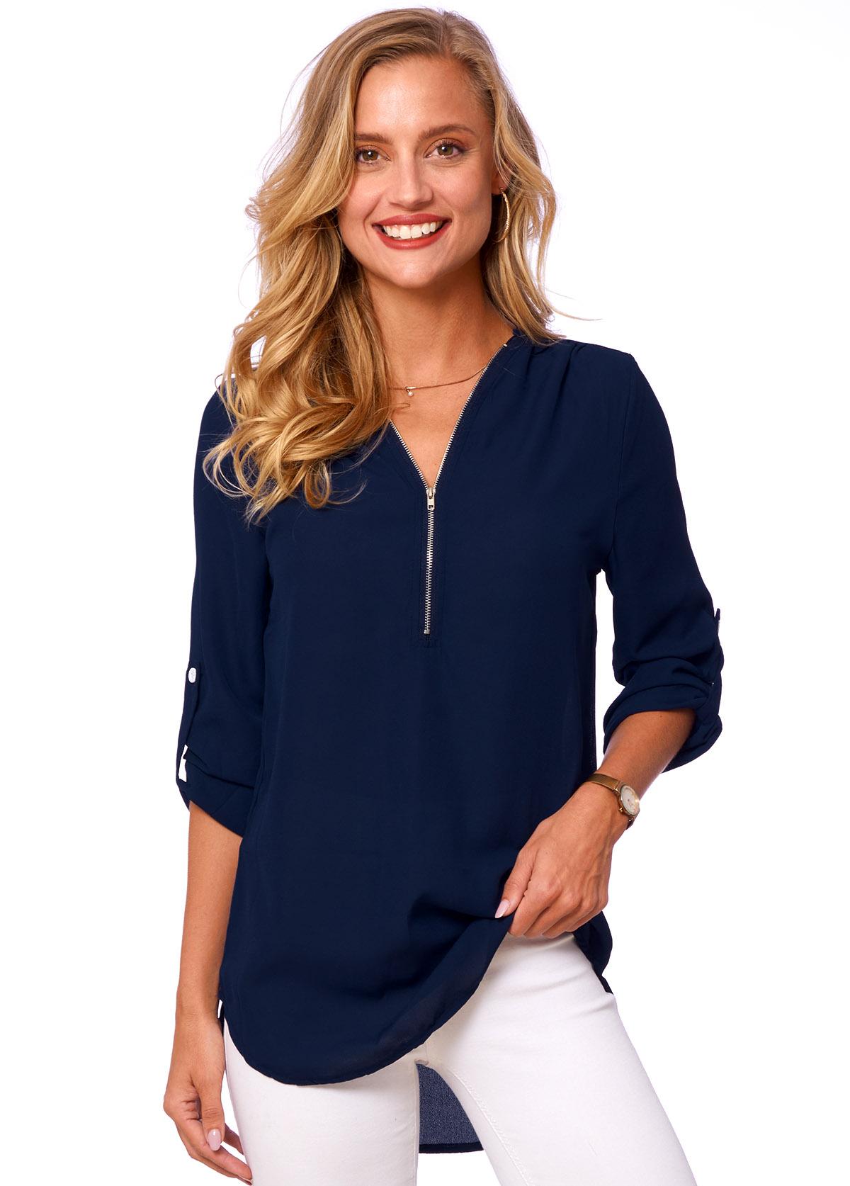 Quarter Zip V Neck Solid T Shirt