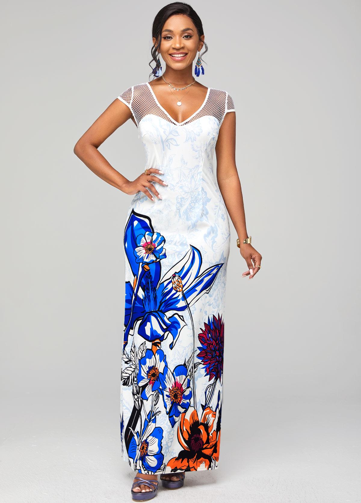 Fishnet Panel Floral Print Short Sleeve Dress
