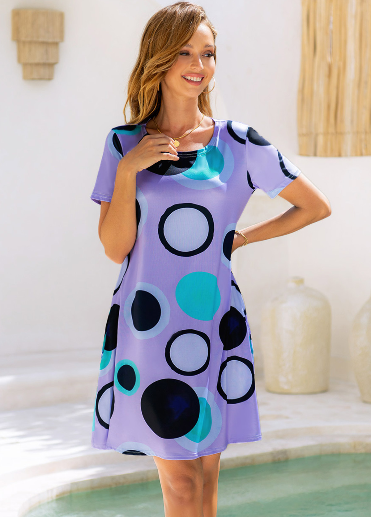 Round Neck Polka Dot Short Sleeve Dress