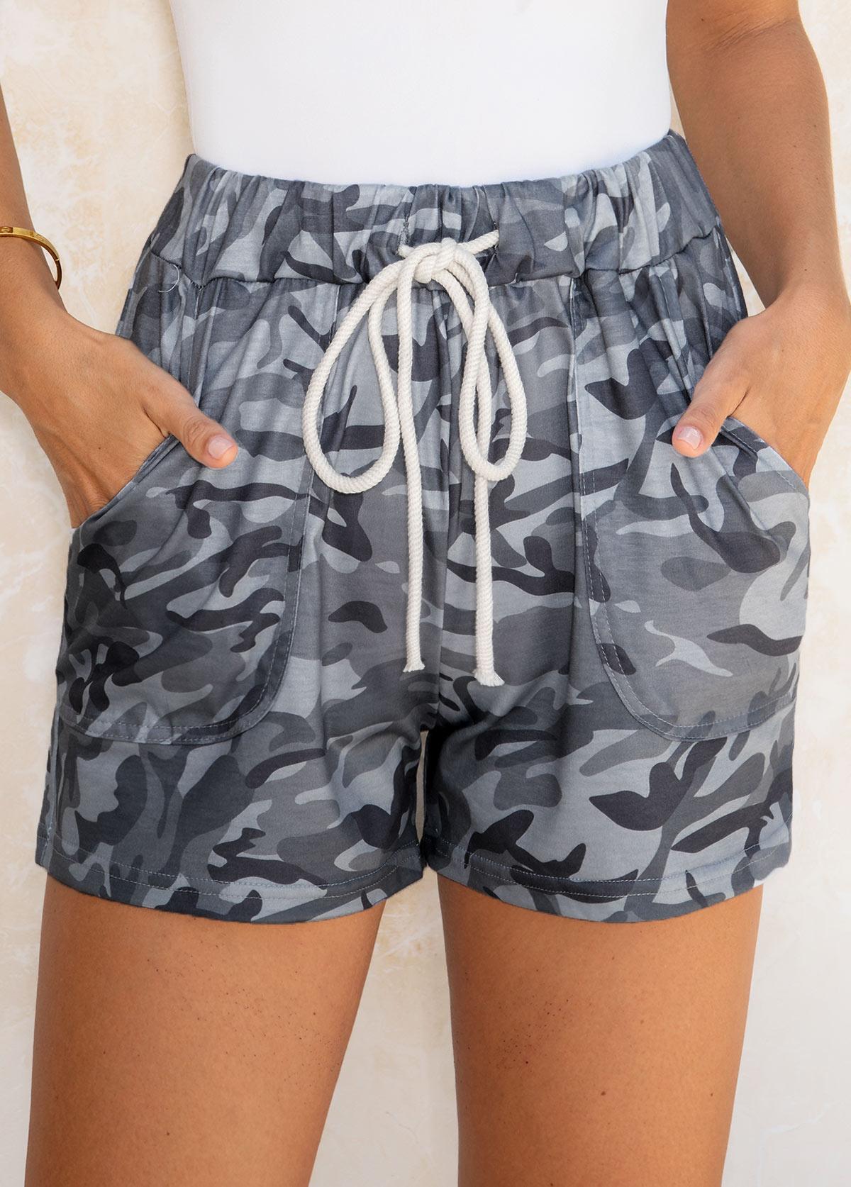 Camouflage Print Drawstring Waist Pocket Shorts