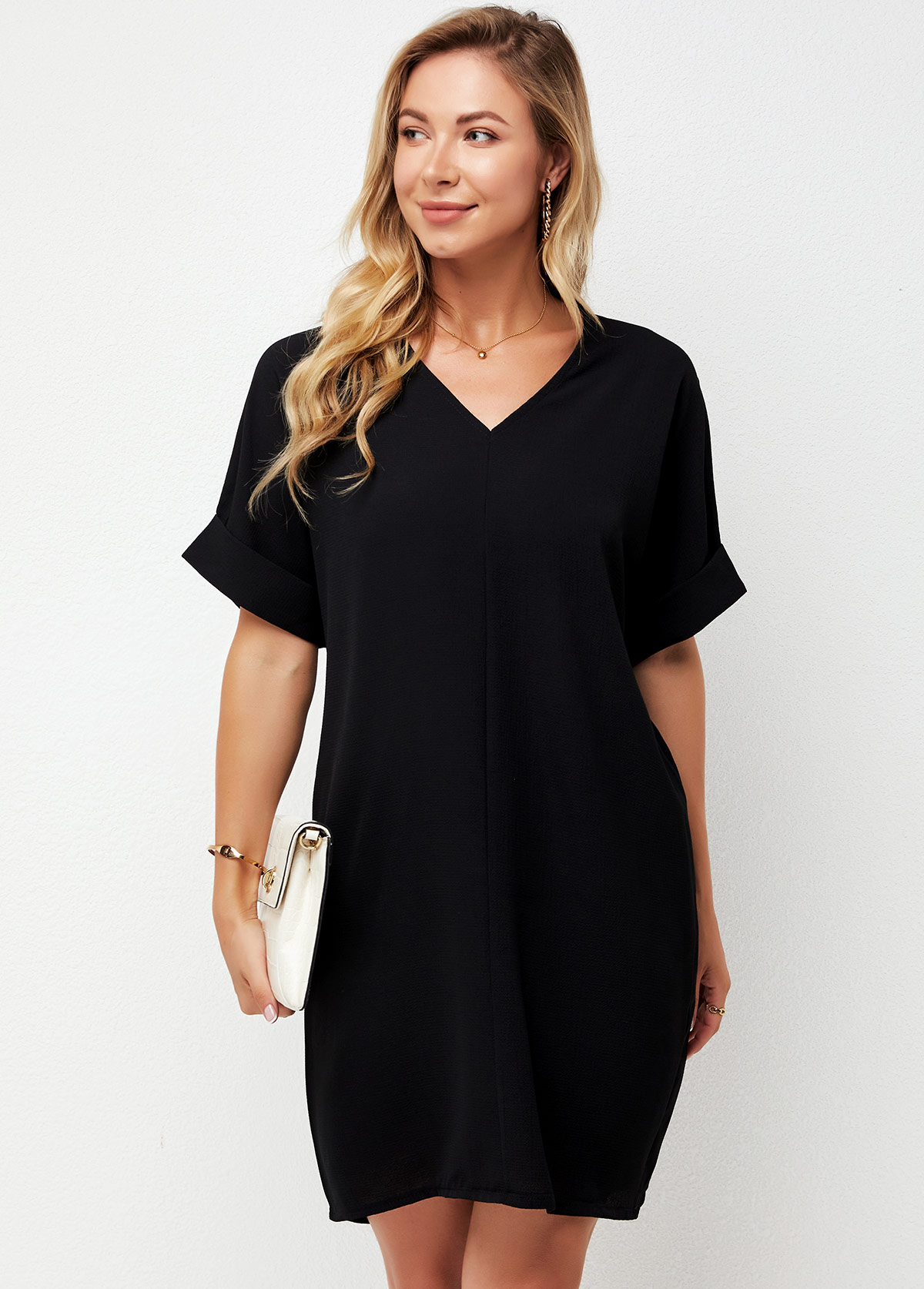 V Neck Short Sleeve Black Dress