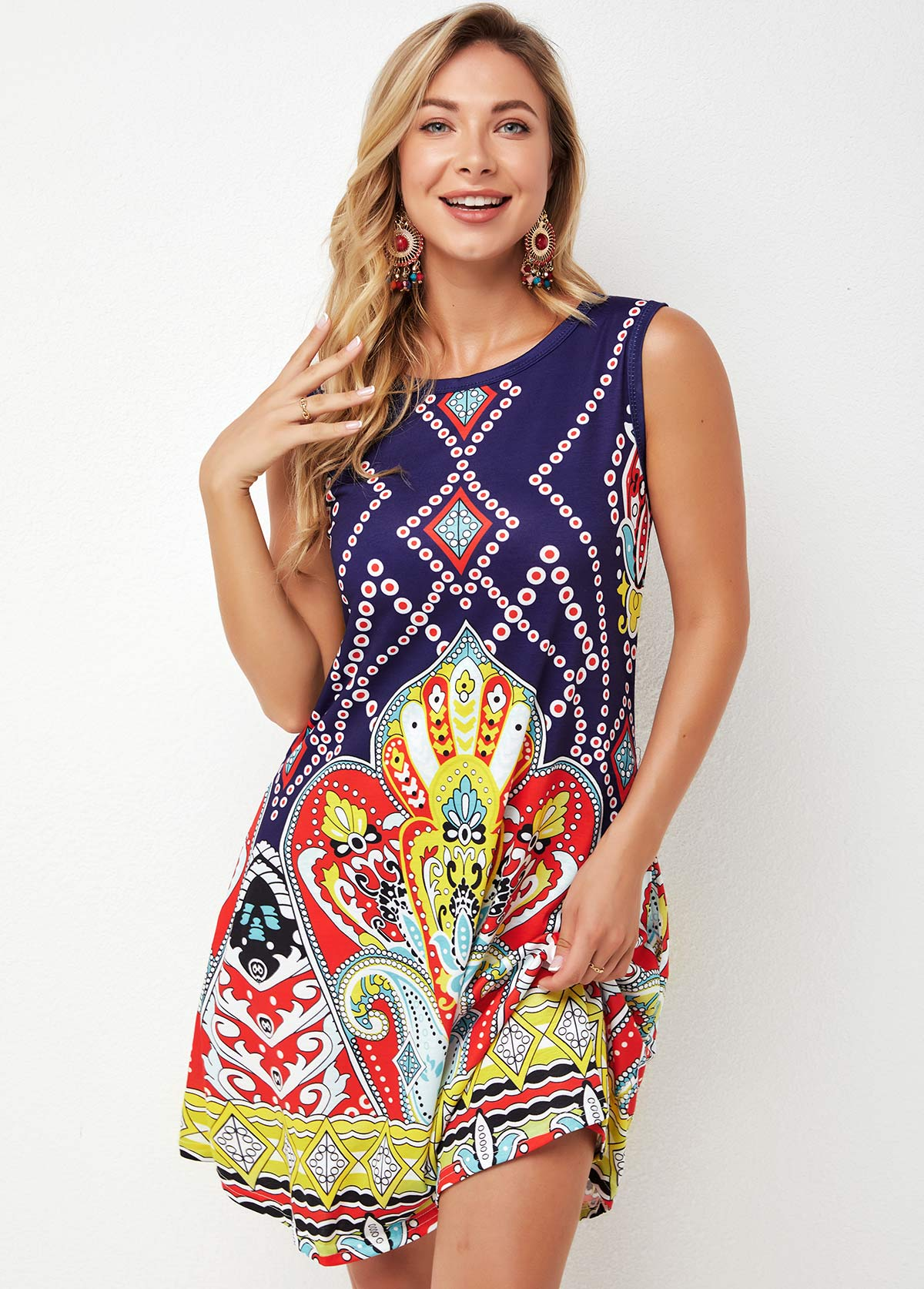 Tribal Print Round Neck Multi Color Dress