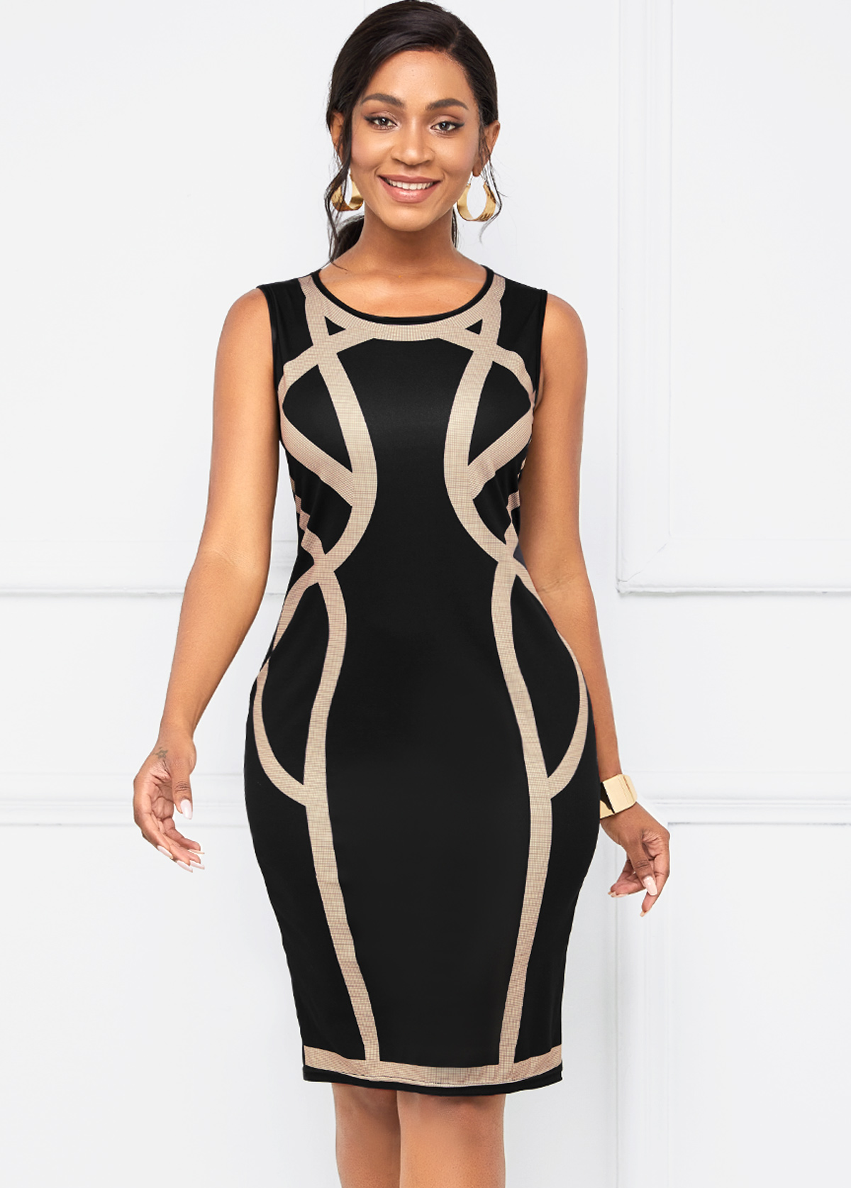 Contrast Round Neck Sleeveless Bodycon Dress
